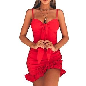 Dresses & Skirts - Red Ruched Tie-Front Mini Dress with Ruffle